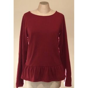 J. Crew Factory Red Long Sleeve Ruffle Hem Top